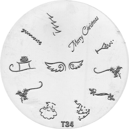 Stamping Pattern 7cm - T34 /  Christmas